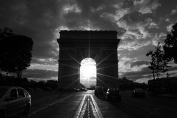 The Arc de Triomphe, captured from the Champs Elysees.
